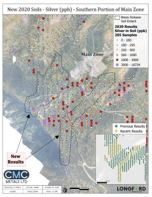 CMC Metals Ltd. Identifies possible Extensions of Main Zone in a Soil Survey at Silver Hart Property, Yukon